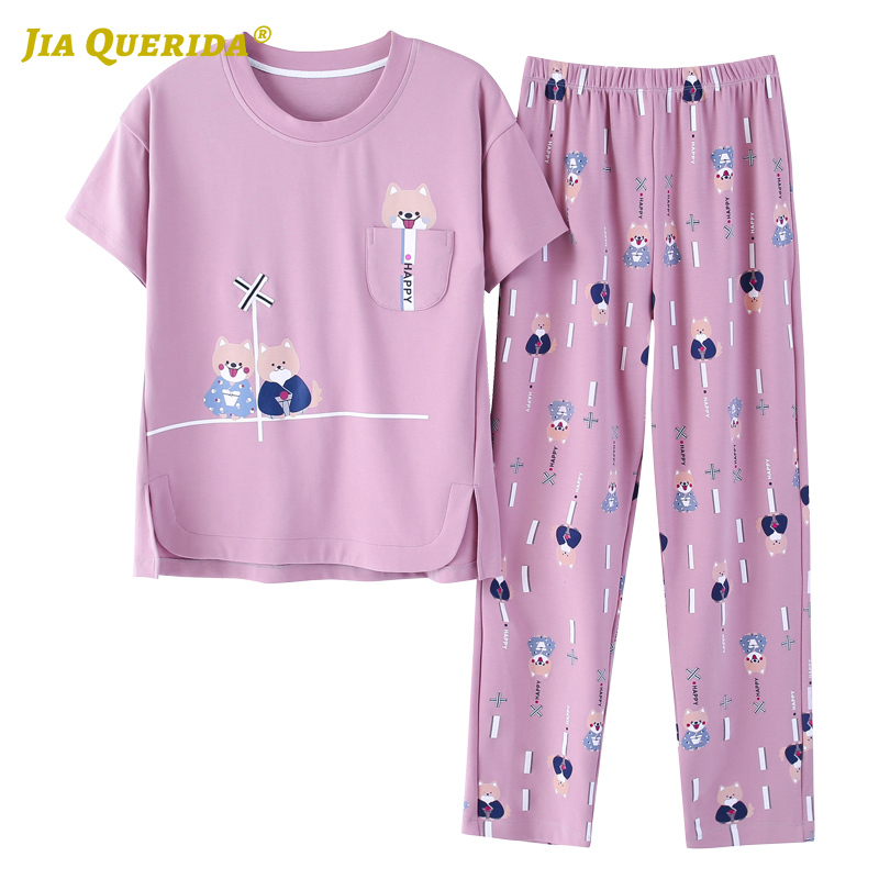 2020 Fashion Spring New Pajamas Sets Homesuit Homeclothes Short Sleeve Long Pants Cartoon Printing Crew Neck Sleepwear Pj Set