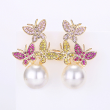 VERY GIRL Colorful Butterfly Shell Pearl Stud Earrings Fashion Women for 2019 Newest Jewelry