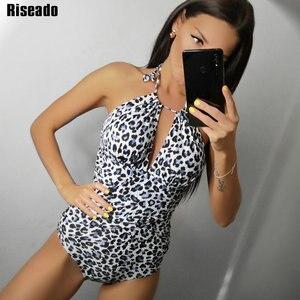 Image 1 - Riseado 2020 قطعة واحدة ملابس السباحة الإناث العميق الخامس ملابس النساء مثير الرسن ليوبارد طباعة ملابس سباحة ملابس الشاطئ الاستحمام الدعاوى