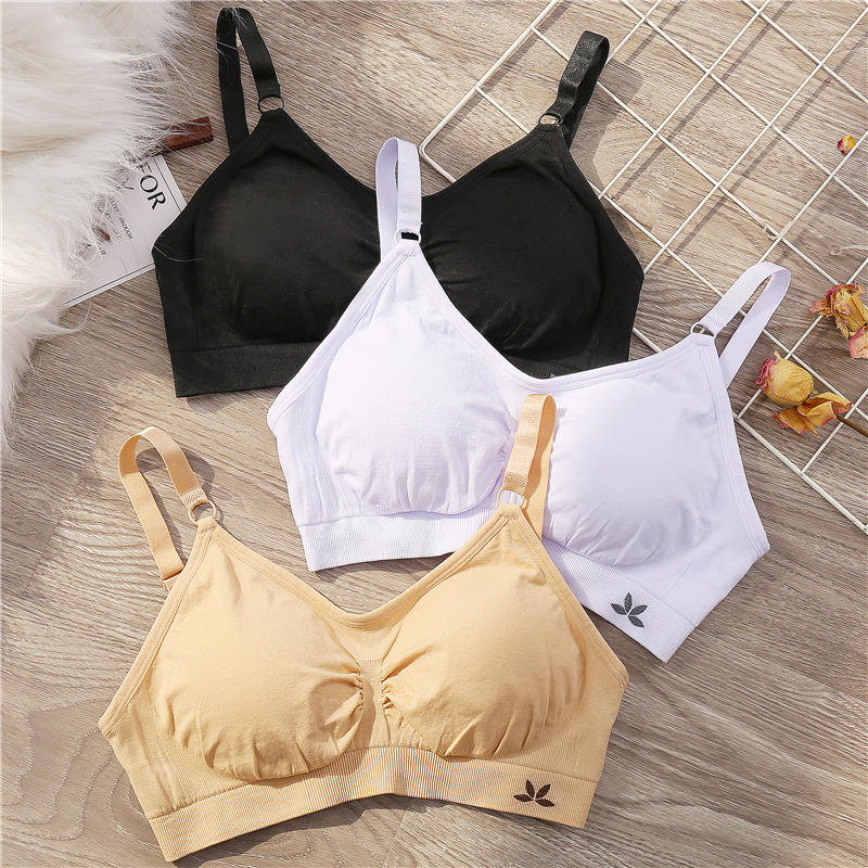Women Fitness Bra Brassiere Push Up Bras For Female Bralette Padded Black/White/Apricot Solid Color Women's Intimate Lingerie