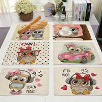 Mantel Individual de cocina con patrón de búho Kawaii, 1 Uds., Mantel Individual de lino y algodón para comedor, posavasos, posavasos, taza de 42x32cm, decoración del hogar ML0007