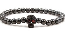Fashion hh453 elastic adjusted skull Copper bead micro pave cz zircon cubic zirconia ball Jewelry Bracelet(China)