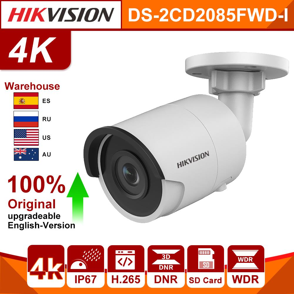Original Hikvision IP Camera DS-2CD2085FWD-I 8MP IR Fixed Bullet Cctv Camera POE CCTV Network Dome Security Camera 4K IP67 IR30