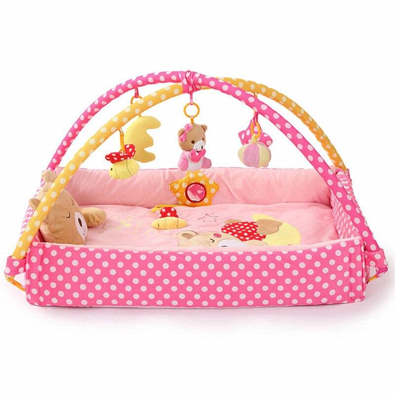 Tapis d'activité bébé multifonction mobile berceau dessin animé ours sensoriel tapis éducatif musique douce tapis de jeu avec rack speelmat bébé