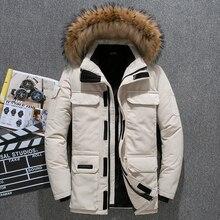 Parkas Men Jacket Coat Hooded Snow White-Duck-Down Winter Fur Warm Thick Windbreaker