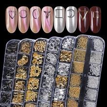 12 siatki metalowy nit zdobienie paznokci dekoracje szpilki Mix Style gwiazdy księżyc złoty srebrny Strass biżuteria DIY 3D wisiorki akcesoria CH772
