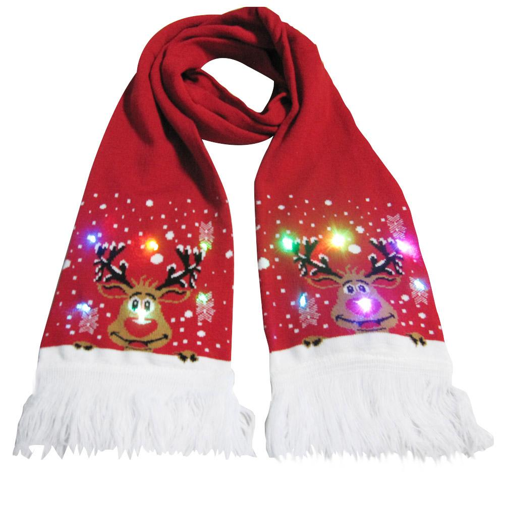 Christmas Scarf Glowing Knitted Scarf For Men And Women Warming Tassels Decoration Ball Party Birthday Holiday Gifts Scarf Women