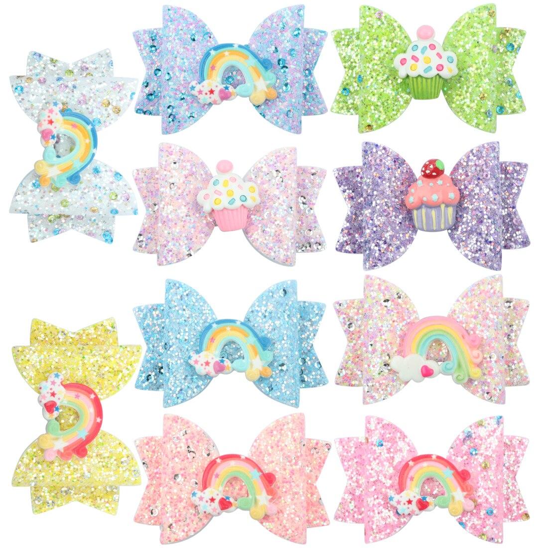 1 PC Girls Hairpins Children Barrettes Kid Hair Clips Spark Glitter Sequin 3Inch Bow Rainbow Accessories Spring Fashion Headwear