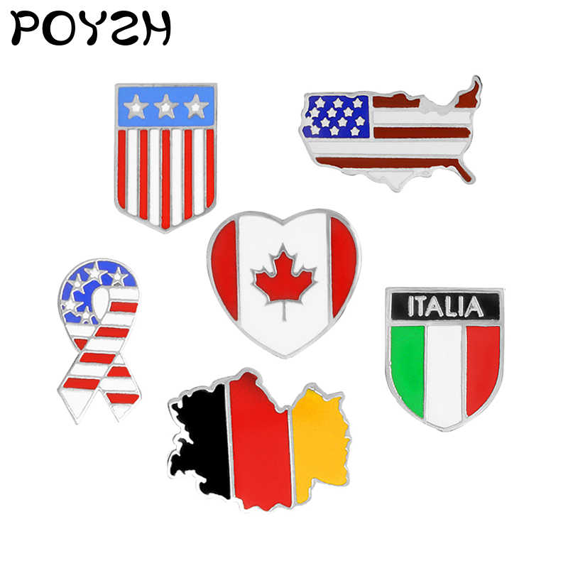 Bendera Nasional Bros, Amerika Serikat Amerika Serikat Jerman Italia Kanada Logam Campuran Bendera Lencana Patriot Perhiasan Kerah Pin