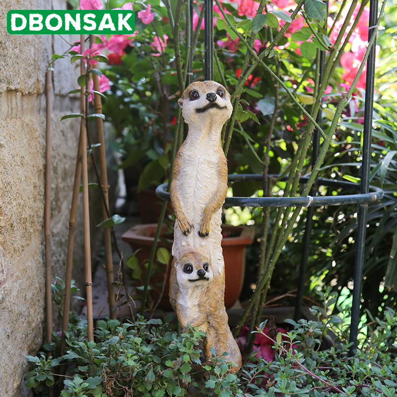 Outdoor Garden Resin Mongoose Crafts Statues Decoration Home Courtyard Balcony Cute Cat Animal Sculptures Decor Park Ornaments