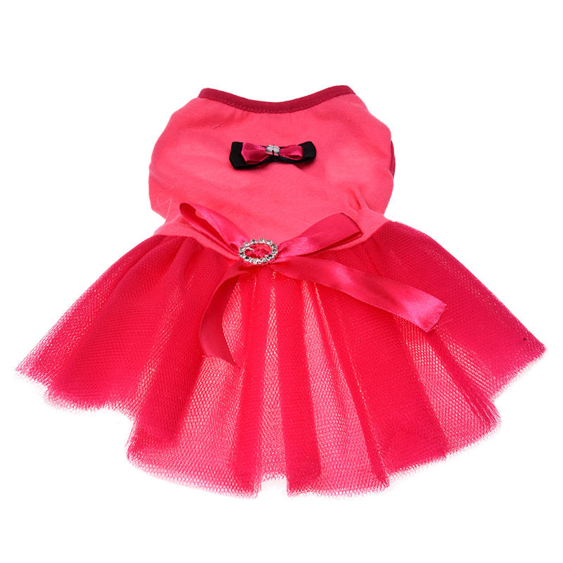 Promotion! Pink Bow Small Pet <font><b>Dog</b></font> Clothes <font><b>Dress</b></font> <font><b>XS</b></font> image