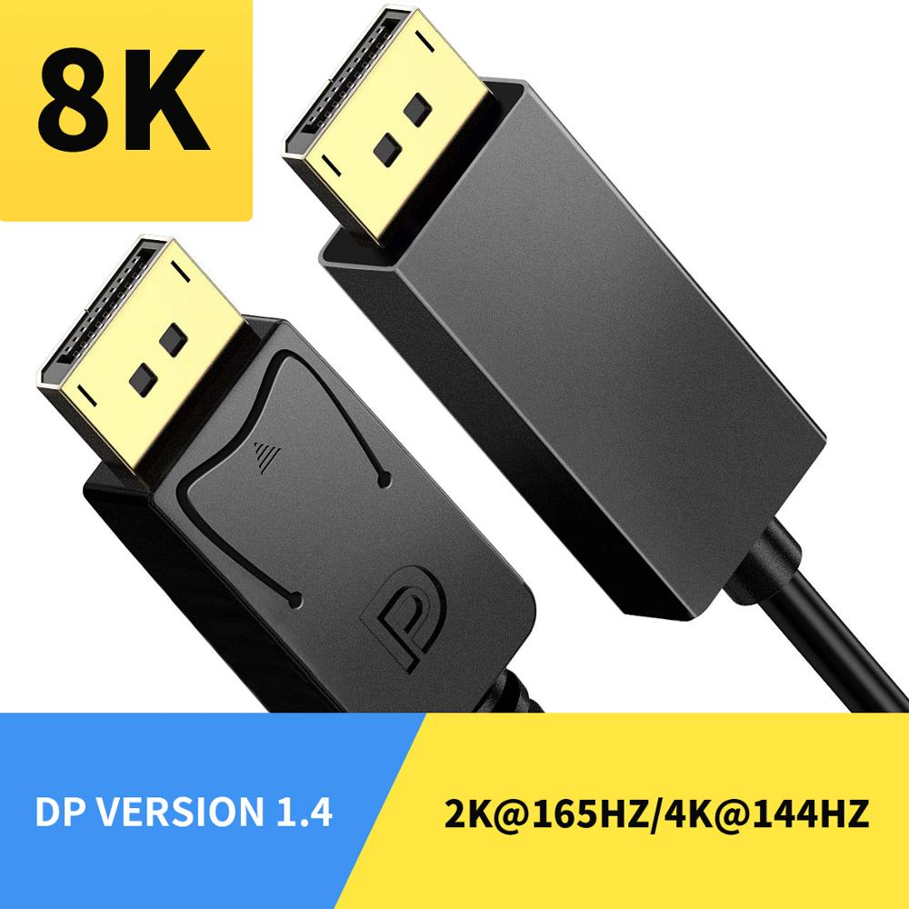 Display Port Cable 1.4 144Hz 8K Displayport Dp Cable For Pc Laptop Tv Monitor 4K Displayport Cord Adapter 1.4 <font><b>Connector</b></font> 3/2m image