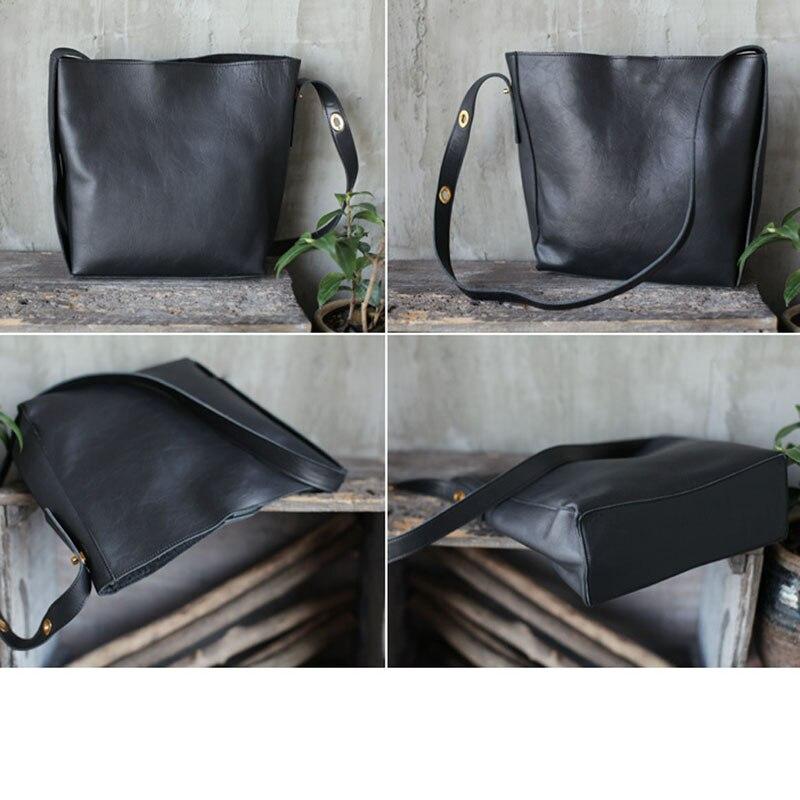 AETOO Nuovo grande capienza singolo sacchetto di spalla nero in pelle morbida cinghia di spalla larga in pelle borsa secchiello verticale borsa di grandi dimensioni - 3