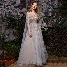 Robe de Soiree yeni tül uzun gece elbisesi dantel akan A line parti elbiseler kadın örgün törenlerinde Vestido de Festa Longo