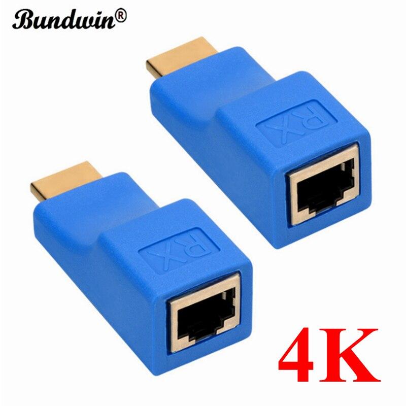 Удлинитель HDMI Bundwin 4K, удлинитель HDMI до 30 м по CAT5e / 6 UTP LAN Ethernet-кабель RJ45 Порты LAN сеть