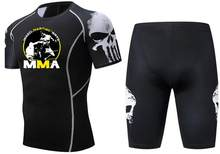 MMA männer T-shirts UFC Thema Mode Fitness Bodybuilding Compression Sets Hemd Männer MMA Punisher T Hemd Crossfit Muscle Shirt(China)