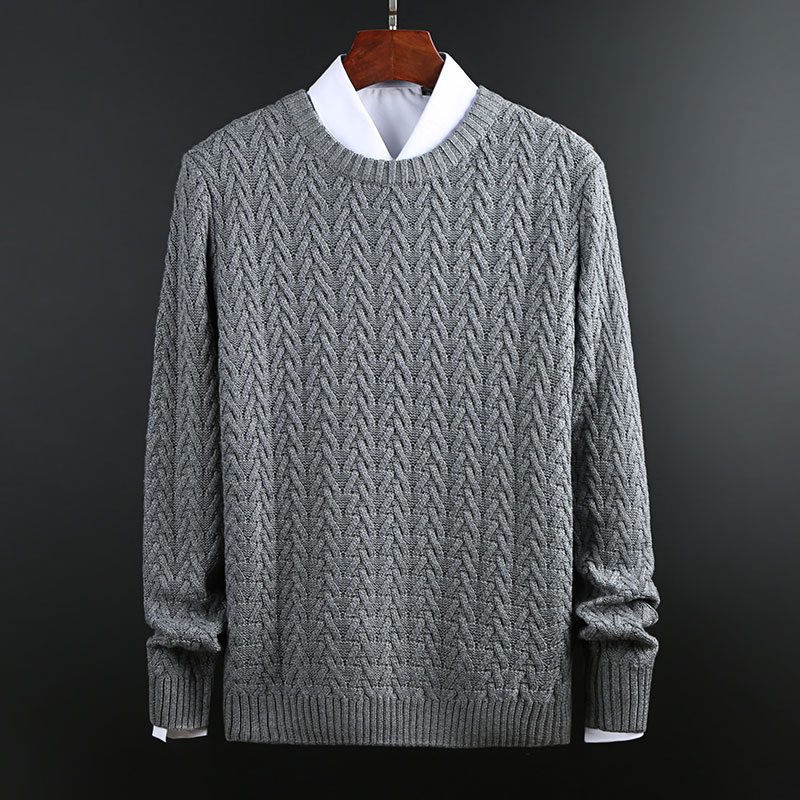 New Fashion Brand Thick Sweaters Mens Pullovers Jacquard Slim Fit Jumpers Knit O-Neck Autumn Korean Style Casual Men Clothes