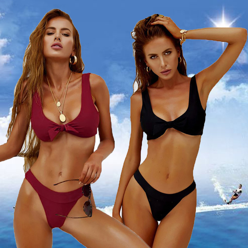 Sexy Women Bikini Set 2019 New Push Up Ruffles Padded Swimwear Bikini Hot Sale Women Bathing Suit Beachwear Swimming Suit Bow
