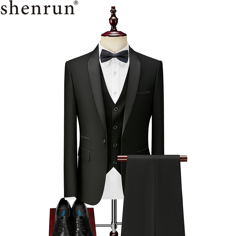 Shenrun Men Tuxedo Suit Slim Fit Shawl Lapel Fashion Formal Wedding Suits Groom Host Stage Business Party Banquet Costume Black