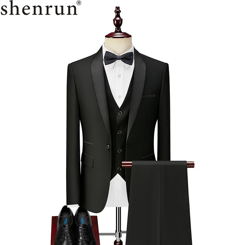 Shenrun Men Tuxedo Suit Slim Fit Shawl Lapel Fashion Formal Wedding Suits Groom Host Stage Business Party Banquet Costume Black