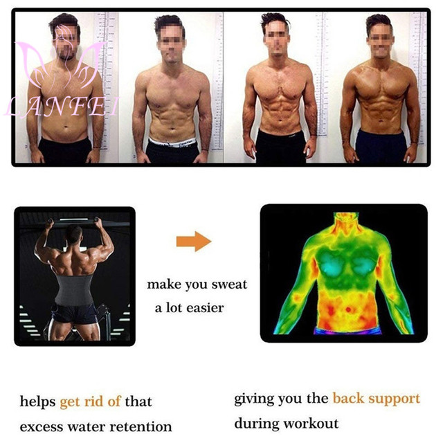 LANFEI Men Waist Trainer Belt Neoprene Sauna Sweat Body Shaper Belly Wrap Workout Tummy Control Slimming Corset for Weight Loss 2