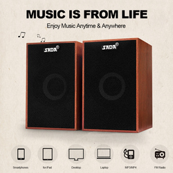 SADA V-160 USB Wired Speakers Computer Wood Subwoofer Speakers with 3.5mm Stereo for PC Desktop Laptop Notebook Music Player