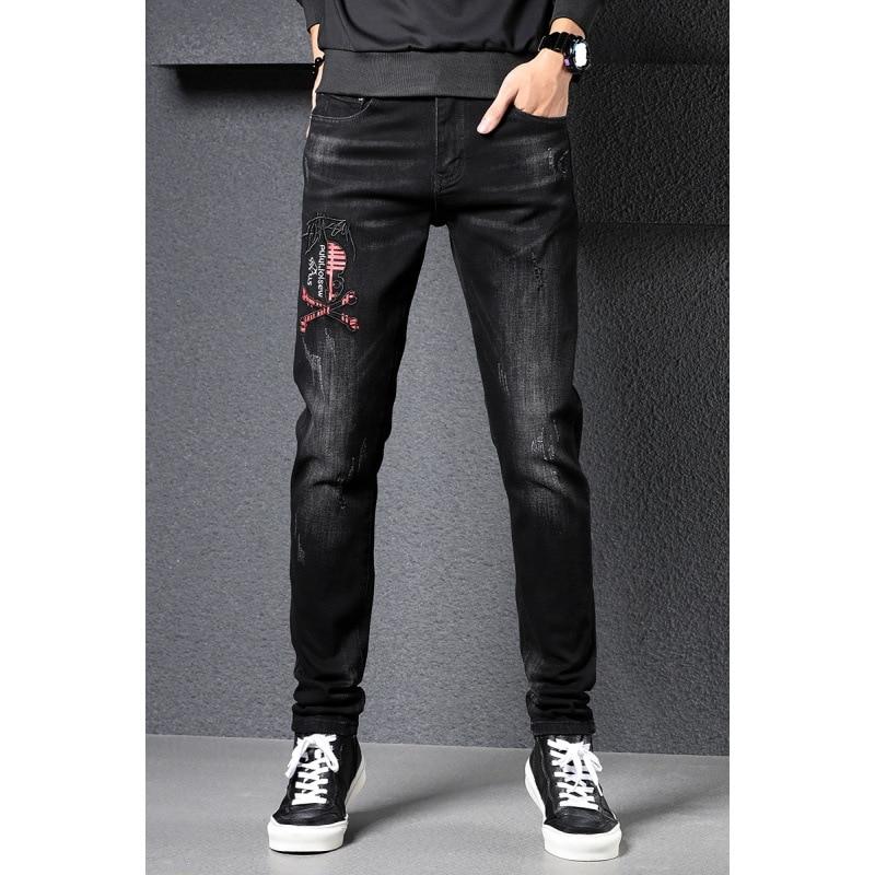 Autumn Jeans Men's Popular Brand Slim Fit Skinny Pants Korean-style Trend Versatile Badge Elasticity Embroidered Black Pants Men