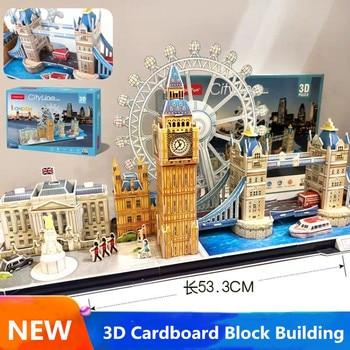 3D Card Board Jigsaw Famous World  Building  City Line London Peking New York Puzzle Construction Brick Model Paper Building 1