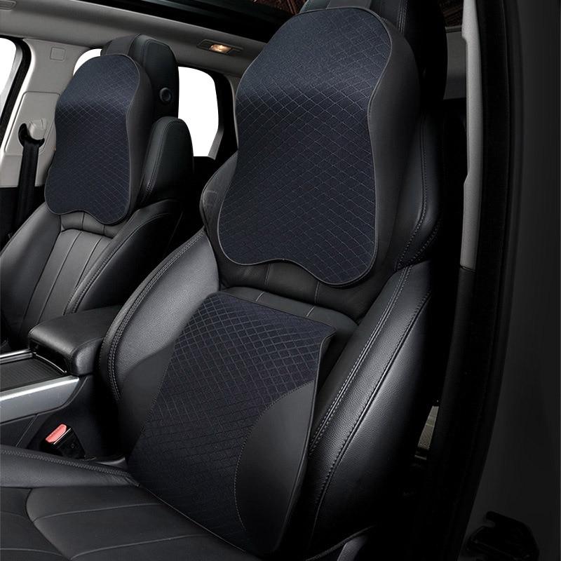 3D Memory Foam Car Neck Pillow PU Leather Car Pillow Waist Rest Pillow Seat Back Rest Lumbar Cushion For Car Accessories