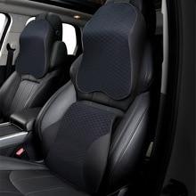 Espuma de memória 3d pescoço do carro travesseiro de couro do plutônio descanso da cintura descanso travesseiro assento encosto lombar para acessórios do carro