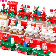 Little Train Wooden Christmas Decorations for Home Xmas Decor Christmas 2019 New Year 2020 Christmas Ornaments Christmas Noel(China)