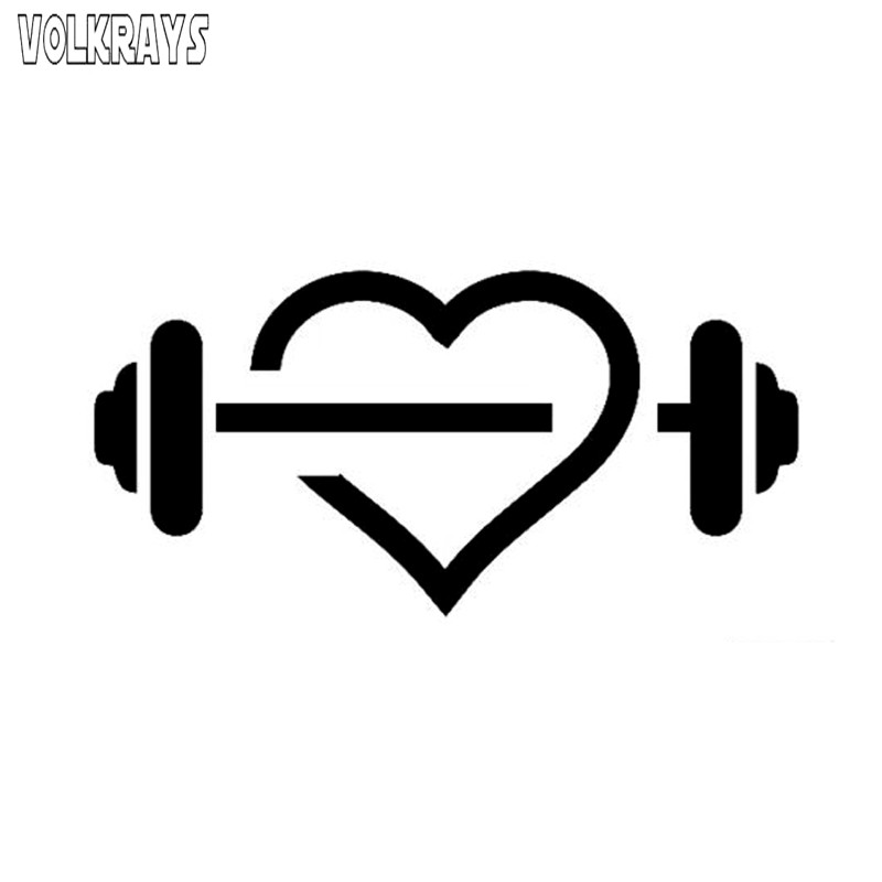 Volkrays Fashion Car Sticker Unique Gym Heart Shape Fitness Dumbbell Sport Accessories Funny High Quality Vinyl Decal,7cm*15cm