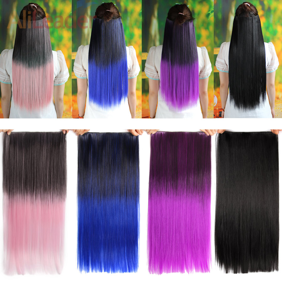 Alileader 22 Inch Long Clip In Hair Extensions Black Brown High Temperature Synthetic Hair Piece Straight Synthetic Hairpieces