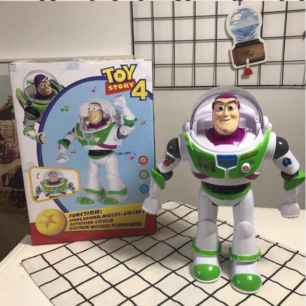 Hot Toy Story 4 Buzz Lightyear Lights Walking Make Voice Anime Action Figures 3 Movable Children Birthday Gifts