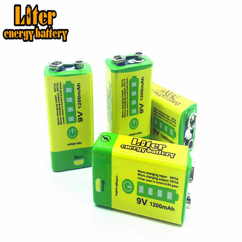 9V 6F22 USB 1200mAh リポ充電式リチウムイオン電池 + 9V Led 充電器煙警報ワイヤレスマイクギターインターホン