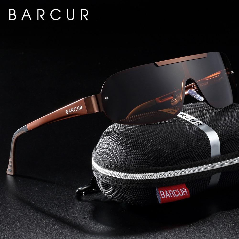 BARCUR Aluminum Magnesium Men's Sunglasses Pilot Driving UV400 Protection Man Sun glass gafas de sol shades