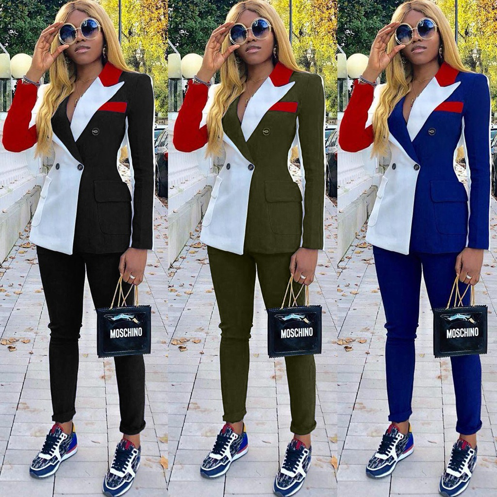Two Piece Chic Ladies Streetwear Elegant Uniform Workwear Women Colorblock Notched Collar Double-breasted Blazer & Pants Sets