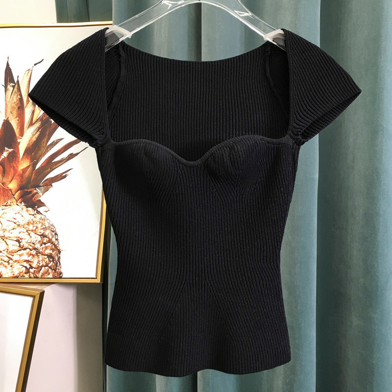 LANMREM 2020 New Spring Sqaure Collar Sleeveless Knitting  Pullover Slim Short High Waist Tops Women T-shirt WK69001L