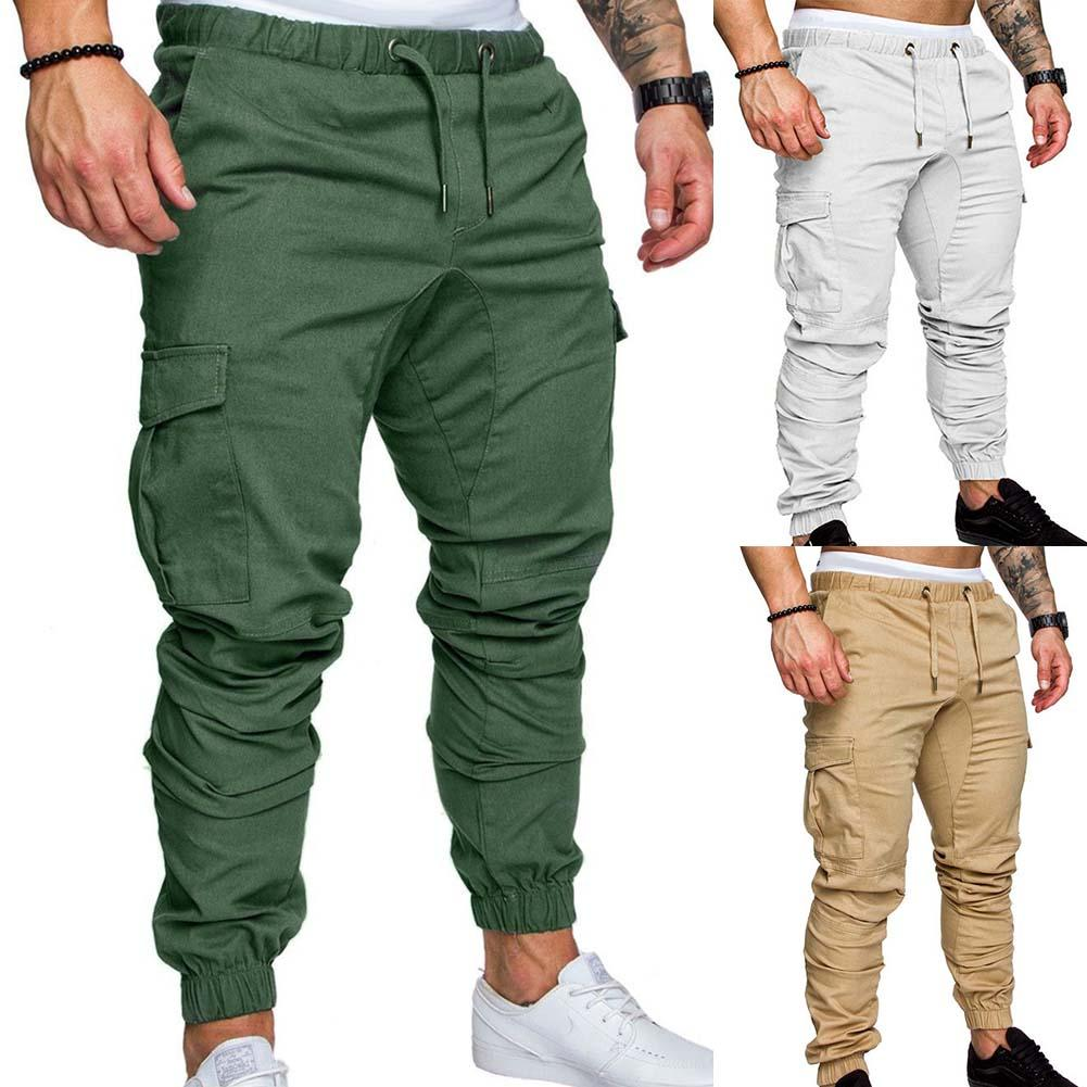 Plus Size Fashion Men Solid Color Multi  Drawstring Ankle Tie Ripped Harajuku Sweatpants Cargo Pencil Long Pants Trousers