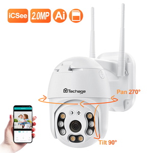 Techage 1080P HD WiFi Camera Full Color Night Vision Outdoor Wireless PTZ IP Camera AI Human Detection Home Security Camera(China)