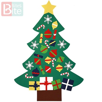 1pc Felt Christmas Tree baby DIY toys New Year Gifts Artificial Tree  Hanging Ornaments Christmas Decoration Children's goods upside down xams tree decorative hanging ornaments 24 inch artificial inverted christmas tree decorations y