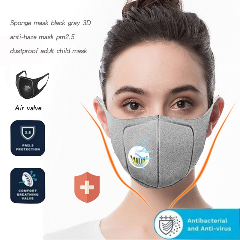 5PCs Sponge Dust Masks Respirator Mask With Breath Valve Anti-Dust Anti Pollution Face Mouth Mask Filter Breathable Mouth Cap