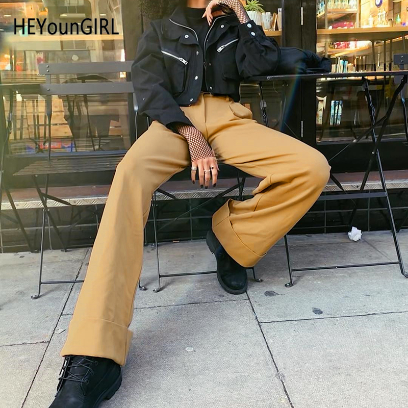 Heyoungirl Elegant High Waist   Pants   Women Black Khaki Straight Ladies Trousers Skinny Casual Harajuku   Pants     Capri   Streetwear