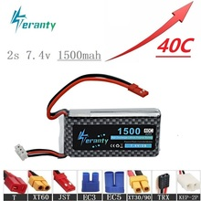 цена на High Rate 40C 7.4V 1500mAh Lipo Battery For RC Helicopter Parts 2s Lithium battery 7.4 v Airplanes battery with JST/T/XT60 Plug