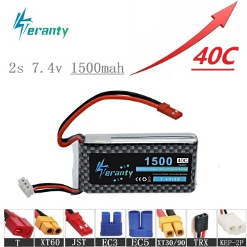 High Rate 40C 7.4V 1500mAh Lipo Battery For RC Helicopter Parts 2s Lithium battery 7.4 v Airplanes battery with JST/T/XT60 Plug