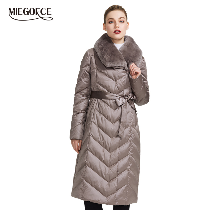 MIEGOFCE 2019 New Collection Women's Jacket With Rabbit Collar Women Winter Coat Unusual Colors That a Windproof Winter   Parka