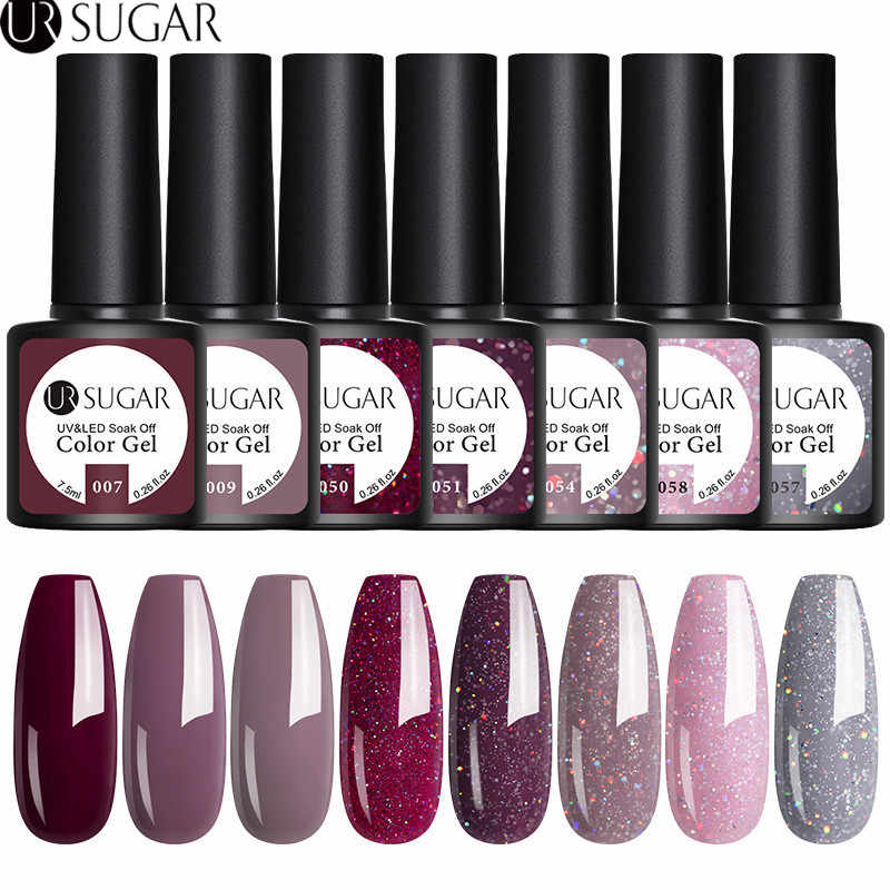 UR Gula 2/3/4/6Pcs Kuku Gel Polandia Set Warna UV Gel Pernis Semi Permanen top Coat 7.5Ml Rendam Off Pernis Kuku Seni