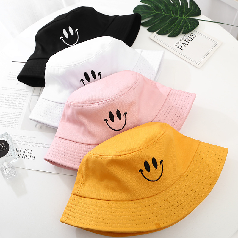 New Embroidery Smile Face Expression Bucket Hat Solid Cotton Summer Panama Man Women Pop Visor Lovers Sun Fishing Gorras
