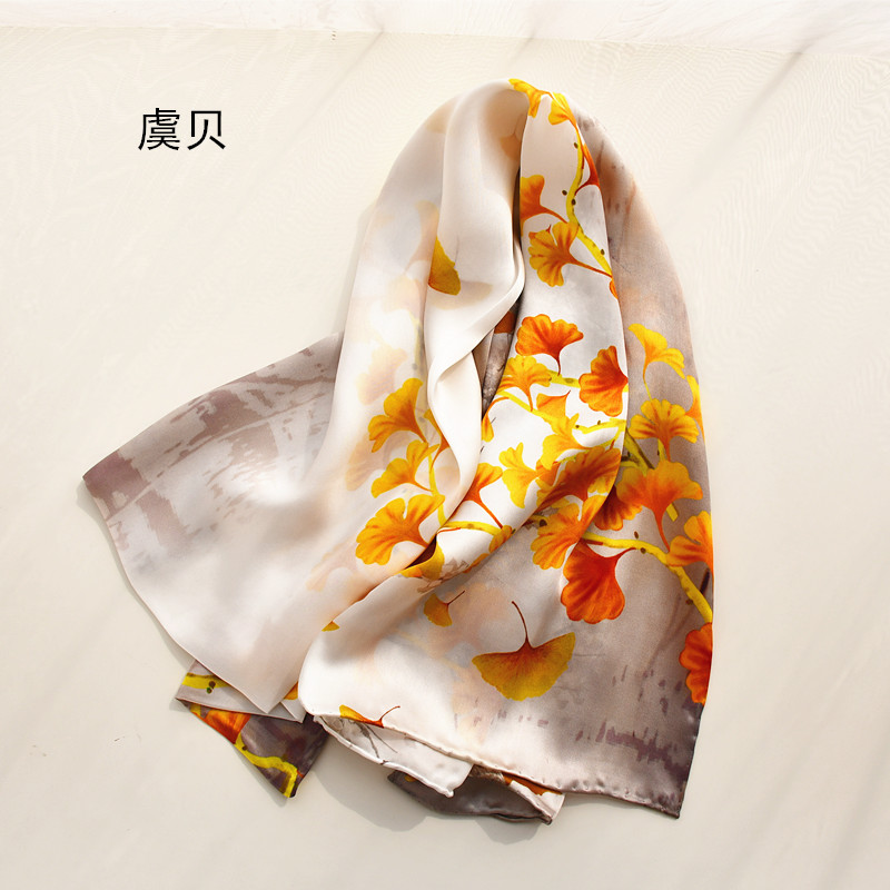 Chinese classic natural silk scarf with printed gingko leaf for women 100% real silk high quality scarves shawl gift for lady|Women's Scarves| - AliExpress