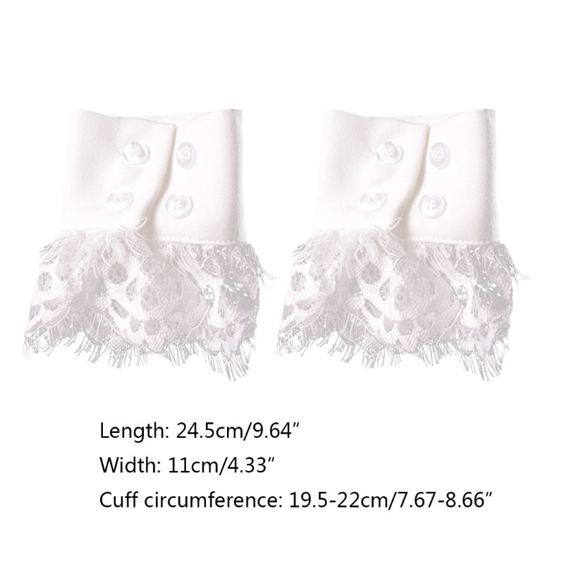 Women Handmade Fake Sleeves Crochet Eyelash Lace Panel Horn Cuffs Wrist Warmers 449F